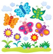 Stylized butterflies theme image Piirros