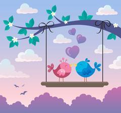 Valentine birds on board below branch Stock Illustration