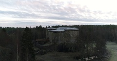 Cinema 4k aerial landing view Raseborg medieval castle, fortress ruins, at .. Stock Footage