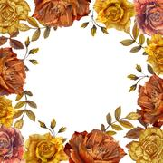 Wildflower rose flower frame in a watercolor style isolated Stock Illustration