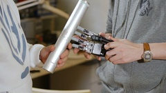 Engineers test innovative product - robotic arm printed with 3d Printer Stock Footage