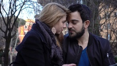 Passion between lovers in the park Stock Footage