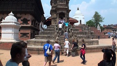Tourists climb on stairs of temple. Architecture of buildings in Kathmandu. Stock Footage