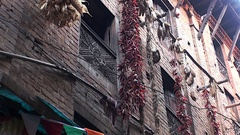 Dried vegetables and herbs hanging on the walls in Kathmandu iNepal. Stock Footage