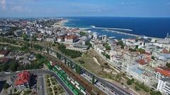 Flight over Constanta city and coastline, Romania Stock Footage