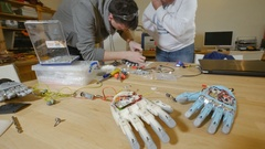 Engineers build innovative product - robotic arm printed with 3d Printer Stock Footage