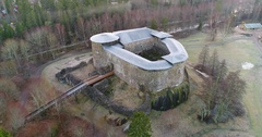 Cinema 4k aerial moving away view on Raseborg medieval castle, fortress rui.. Stock Footage