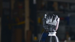 Bionic arm. Innovative robotic hand made on 3D printer. Futuristic technology Stock Footage