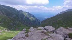 Aerial view of Bucegi mountains, near Omu peak, Romania Stock Footage