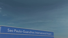 Commercial airplane landing at Sao Paulo-Guarulhos International Airport 3D Stock Footage
