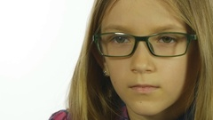 Sad Bored Eyeglasses Child Looking, Blonde Girl Portrait, Face, White Screen Stock Footage