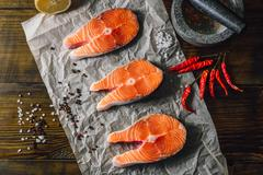 Salmon Steaks and Spices. Stock Photos