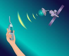 Satellite in space transmits a signal. Stock Illustration