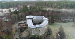 Cinema 4k aerial orbit view on Raseborg medieval castle, fortress ruins, at.. Stock Footage