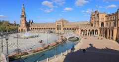 Panorama of Plaza de Espana made from above Stock Footage