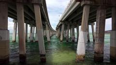 Pylons In Ocean Under Elevated Overseas Highway in Florida Keys Stock Footage