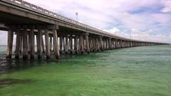 Overseas Highway Bridge Over Ocean in the Florida Keys Stock Footage