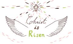 Easter christian motive with lettering and sketch Stock Illustration