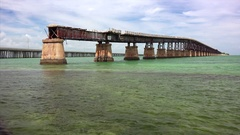 Abandoned Bahia Honda Rail Bridge in Lower Florida Keys Stock Footage
