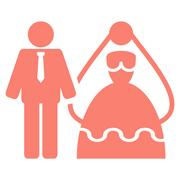 Bride And Groom Vector Icon Stock Illustration