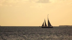 Sailboat Charter Tour With Tourists in Key West, Florida at Sunset Stock Footage