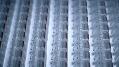 Ready patch cord connectors on the assembly line Stock Footage