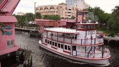 Riverboat Passes Under Drawbridge on New River in Fort Lauderdale, Florida Stock Footage