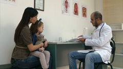 Smiling doctor explaining cardiogram to mother and little girl Stock Footage