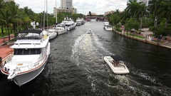 Private Boats on Intracoastal Waterway in Fort Lauderdale, Florida Stock Footage