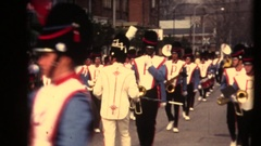 Parade marching band and Santa Clause in a vintage fire turck Stock Footage