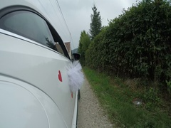 White car ride POV. With right side reference. Country road Stock Footage