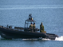 Fast Attack Missile Craft military boat at Navy Marine Day. Stock Footage