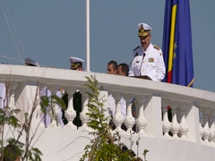 Romanian President Iohannis is present at the Navy Marine Day Festivity. Stock Footage