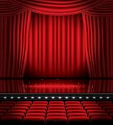 Open Red Curtains with Seats and Copy Space. Stock Illustration