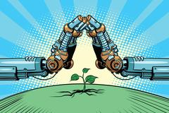 The robot arm protect green sprout, technology environment and n Stock Illustration