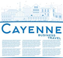 Outline Cayenne Skyline with Blue Buildings and Copy Space. Stock Illustration