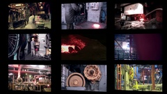 Heavy industry factory. Abstract industrial background montage Stock Footage