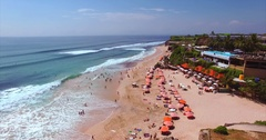 Dreamland beach from aerial view. Hotels on the shore. Tourists relaxing Stock Footage