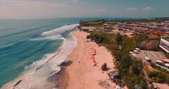 Aerial panorama on Dreamland beach. Bukit, beach, hotel and oceanscape Stock Footage