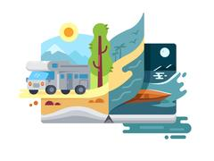 Holidays and vacations in nature Stock Illustration