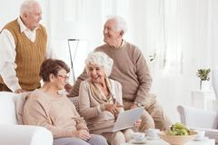 Elderly people and technology Stock Photos