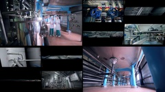 Split screen. Brewery pipes, pipeline. Multiscreen montage Stock Footage
