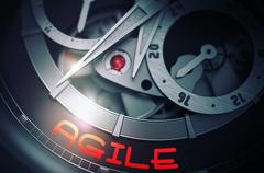 Agile on the Automatic Wristwatch Mechanism. 3D Stock Illustration