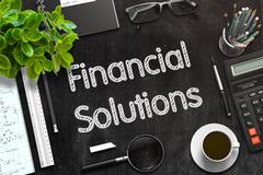 Black Chalkboard with Financial Solutions. 3D Rendering Stock Illustration