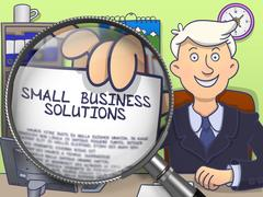 Small Business Solutions through Magnifier. Doodle Style Piirros