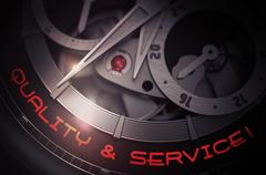 Quality And Service on Old Wristwatch Mechanism. 3D Stock Illustration