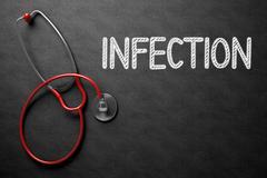 Infection Handwritten on Chalkboard. 3D Illustration Stock Illustration