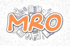 MRO - Doodle Orange Word. Business Concept Stock Illustration