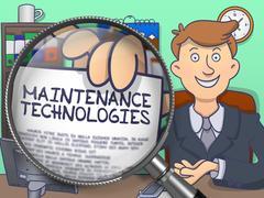 Maintenance Technologies through Magnifier. Doodle Concept Stock Illustration