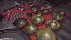 Tibetan bowls and Tibetan bells. The sound of singing bowls Stock Footage